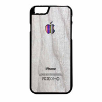 Apple Logo On White Wood Colorful iPhone 6 Plus Case