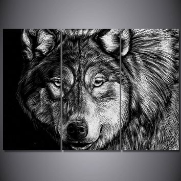 Wolf Poster Black White Sketch Picture Wall Art Home Decor Canvas 5 Panel Print