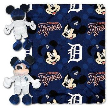 "DETROIT TIGERS 40""X50"" DISNEY MICKEY MOUSE HUGGER PILLOW & THROW BLANKET SET NEW"