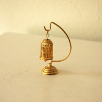 1950's Mid Century Tiny Miniature Gold Birdcage with Stand Trinket Collectible