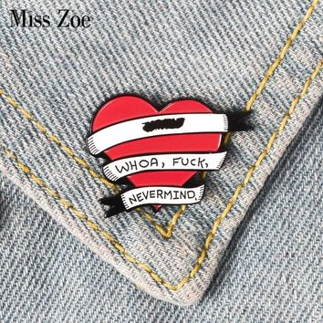 Red Heart quote banner enamel pin Punk brooches for Bag Clothes Lapel Pin Button Badge Cartoon Jewelry Gift for friends