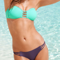 CUTE CONTRAST HOLLOW STRAPLESS HOLES TWO PIECE BIKINIS