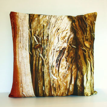throw cushion WOOD closeup organic cotton by mybeardedpigeon
