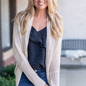 Chilly Days Ahead Cardigan : Oatmeal