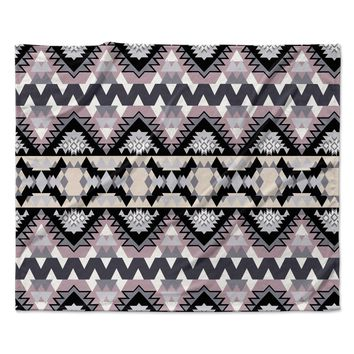 "Victoria Krupp ""Nordic Ice"" Black Pastel Digital Fleece Throw Blanket"