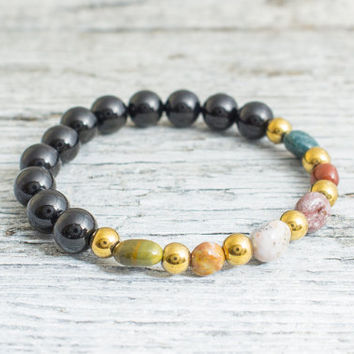 Black onyx & free form indian agate beaded stretchy bracelet, made to order yoga bracelet, mens bracelet, womens bracelet