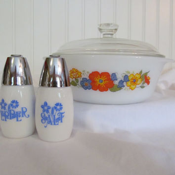 Glasbake Casserole Dish with Lid and Salt Pepper Shakers