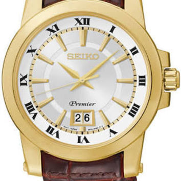 Seiko Premier Silver Dial Brown Leather Mens Watch SUR018