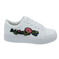 Stealthy02M White By Bamboo, Embroidery Floral Patchwork Platform Lace Up Creeper Sneaker.