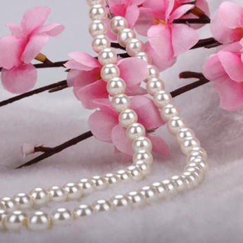 White Faux Pearl Beads Necklace Elegant Imitation Pearl Choker Necklace Women Party Jewelry 42cm SM6