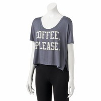 Recyled Karma ''Coffee Please'' Crop Tee