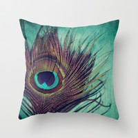 Peacock Feather Throw Pillow by KunstFabrik_StaticMovement Manu Jobst | Society6