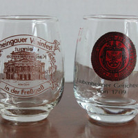 German Shot Glasses, Set of 2, Rebbluten-fest Laubenheim & Rheingauer Weinfest in der FreBgaB, Bar Glass, Made in Germany