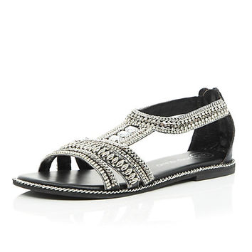 River Island Womens Black leather bead and gem sandals