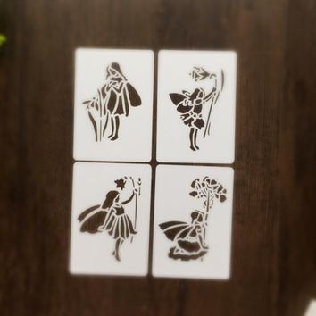 4pcs Fairy Scrapbooking tool card DIY album masking spray painted template laser drawing stencils 7031437