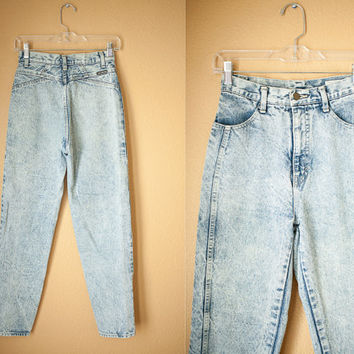 Vintage Acid Washed JEANS | 80s Jeans Mom Jeans Denim Jeans Skinny Jeans Goth Grunge Tapered 80s High Waisted pants Distressed 90s V Yoke