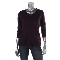 Karen Scott Womens Petites V-Neck Ribbed Trim Pullover Sweater