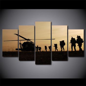 5 piece canvas art soldier silhouette army airship helicopter sunset
