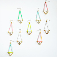 Colourful earrings, geometric triangle pyramid earrings, geometric earrings, dangle