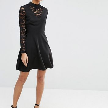 ASOS High Neck Skater Dress With Lace Insert and Lace Sleeves at asos.com