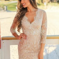 Ivory and Gold Printed Short Dress