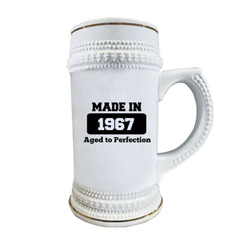 50th Birthday Beer Stein - Awesome, Ceramic Glass Gag Gifts for Men and Women