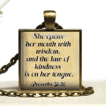 Womens Proverbs 31:26 Christian Scripture Glass Tile Pendant Bible Verse Jewelry