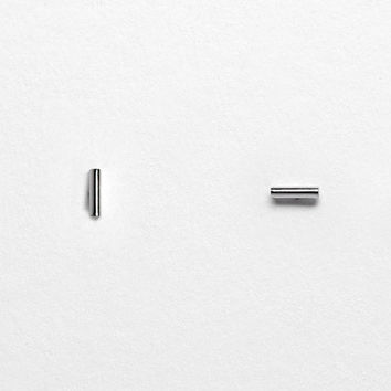 Linear Bar Stud Earrings - 925 Sterling Silver - Hypoallergenic - Geometric Line Earrings - Simple Minimalist Everyday Jewelry LITTIONARY