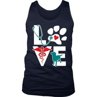 Veterinarian Tank Top - Love dog v.Teal