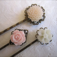 Pastel Flowers Hair Pins Brass Filigree Hair by ShablulitShop