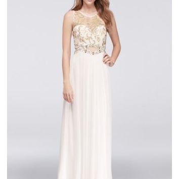 Illusion Tank Prom Dress with Gold Beaded Cutout - Davids Bridal