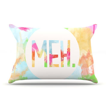 "Skye Zambrana ""Meh"" Rainbow Watercolor Pillow Sham"