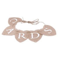CARDS Love Heart Mini Hessian Burlap Banner Rustic Wedding Decoration (1 Piece)