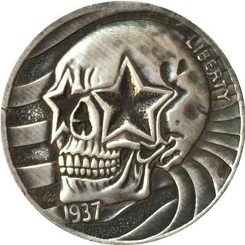 Hobo Nickel 1937 D 3 LEGGED BUFFALO NICKEL COIN HAND CARVED