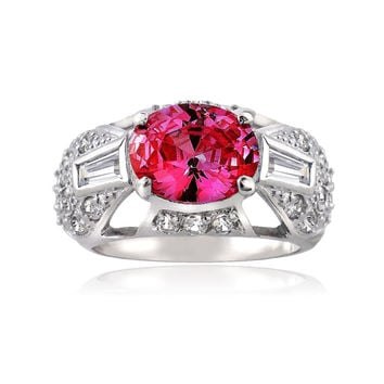 Sterling Silver Created Pink Sapphire and Simulated Diamond CZ baguette and Pave Filigree Ring