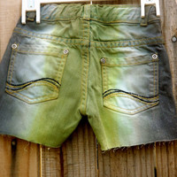 Kids Forest Green and Gray Striped Shorts