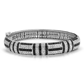Deco Style Black Cubic Zirconia Dome Bangle Bracelet Silver Plated