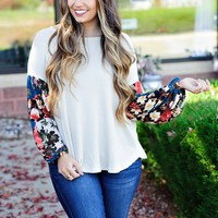 * Most Girls Waffle Knit With Print Sleeves: Oatmeal