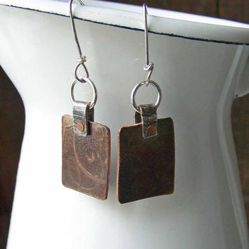 Etsy, Etsy Jewelry, Metalwork Earrings, Etched Earrings, Copper and Silver Earrings, Mixed Metal Earrings, Square Earrings, Industrial