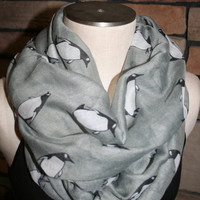 Penguin Infinity Scarf-Arctic Penguin Grey Circle Loop Scarf  Chunky Infinity Scarf-Womens Accessory-Cute Seasonal Scarf