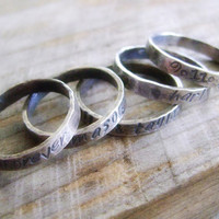 Personalized Sterling Stacking Ring - Hand Stamped Rustic ONE Ring
