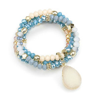 Blue Multi-Color Druzy Agate Charm Multi Strand Bead Stretch Bracelet