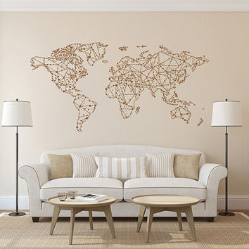 kik1344 Wall Decal Sticker world map Bedroom Living Room