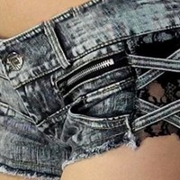 Retro sexy lace stitching zipper torn burrs denim shorts from shoponline4