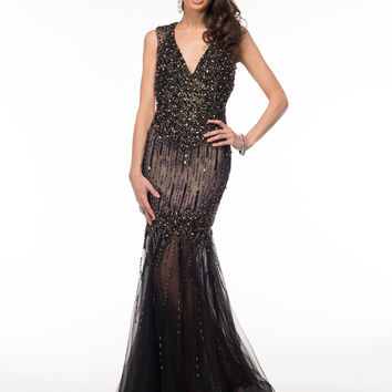 GLOW G519 In Stock SZ 14 Black Mermaid Prom Dress Evening Gown Mother of Bride