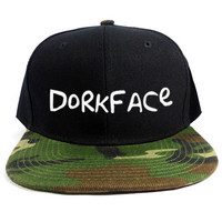 Dorkface Snapback Hat in Black & Camo