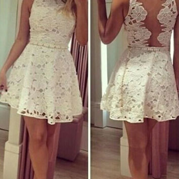 White Lace Open Back Homecoming Dress