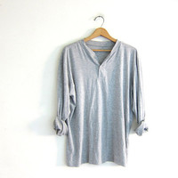 vintage long sleeve gray top. button front henley. minimalist shirt / distressed  thin tshirt