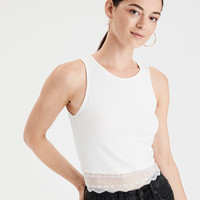 AE Lace Hem Tank Top, Natural White