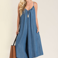 Lillian Denim Sleeveless Jumpsuit